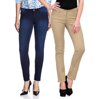 e851dca492 Buy Fuego Fashion Wear Combo of Jeans and Trouser For Women-Pack of ...