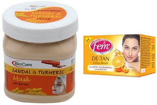 Fem De-Tan Crme Bleach 30g and Biocare Sandal & Turmeric Mask 500ml