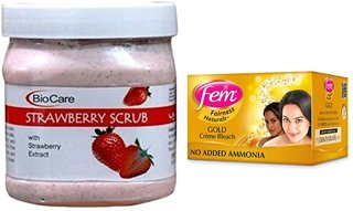 Fem Gold Crme Bleach 64g and Biocare Strawberry Scrub 500ml
