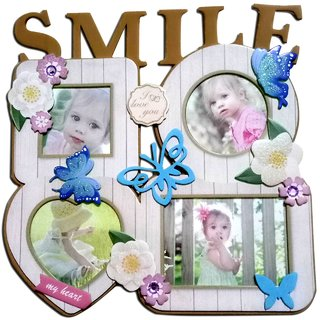 SMILE PHOTO FRAME SET OF 4 PHOTO IN MULTI GLOSSY COLOR