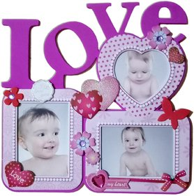 LOVE PHOTO FRAME SET OF 3 PHOTO IN PINK GLOSSY COLOR