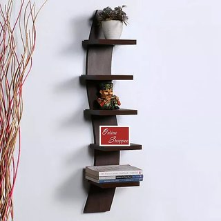 Onlineshoppee Floating MDF 5 Tier Wall Shelves - Brown