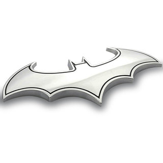 DY Chrome Metal Badge Emblem Batman 3D Tail Decals Auto Car Motorcycle Logo Sticker (silver)