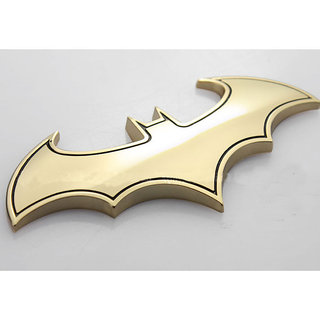 DY Chrome Metal Badge Emblem Batman 3D Tail Decals Auto Car Motorcycle Logo Sticker (Gold)