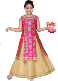 Bolly Lounge Baby  Girl's Jacquard Silk Pink Color  Indo-Wastern Dress