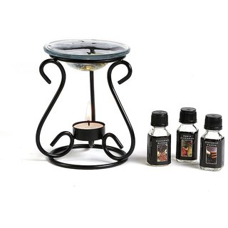 Hosley Oil Warmer Gift set, Includes 3 Bottles of Assorted Fragrance Oils and 3 bonus Tealights