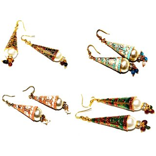 Designer Meenakari Cone Combo set of 4 Earrings by Vidyawati