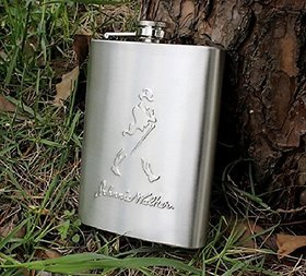 Lovato Johnnie Walker Alcoholic Beverage Holder Stainless Steel Hip Flask (236 ml) Sliver