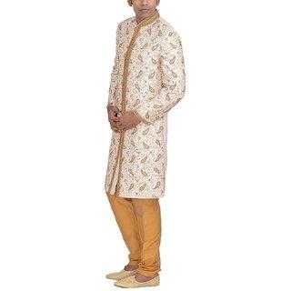 Goyal Safa Sherwani Set Mens Brocade Sherwani Set (GTH - 1231--36 Off-White 36)