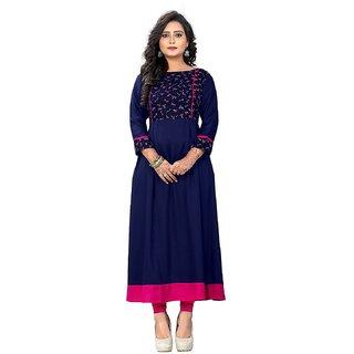 Vaikunth Fabrics Kurti In Navy Blue Color And Rayon Fabric For Womens VF-KU-115