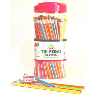 Dezha Tripond Pencil JAR Triangular Shaped Pencils  (Set of 1, Multi Colors)