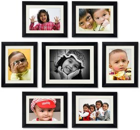 CRETE Glass Wall Hanging Brown Photo Frame Sets - Pack of 7