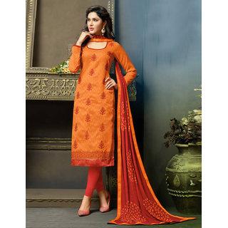 Utsav Designer New Charming Orange Cotton Straight Fit Dress Material (Unstitched)