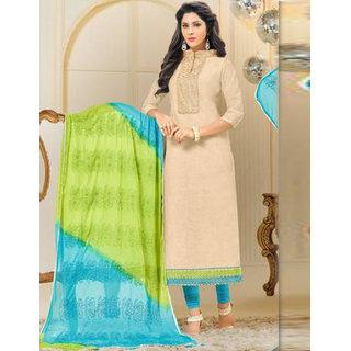 Utsav Designer New Amazing Cream Chanderi Cotton Straight Fit Dress Material (Unstitched)