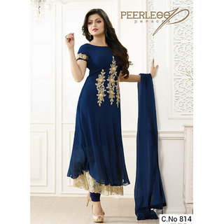 Utsav Designer New Amazing Navy_Blue Faux Georgette Anarkali Salwar Suits