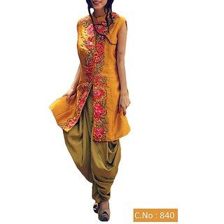 Utsav Designer New Amazing Yellow Taffeta Silk Patiyala Salwar Suits (Unstitched)
