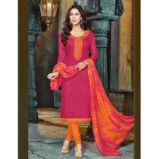 Utsav Designer New Fancy Pink Cotton Straight Fit Dress Material (Unstitched)