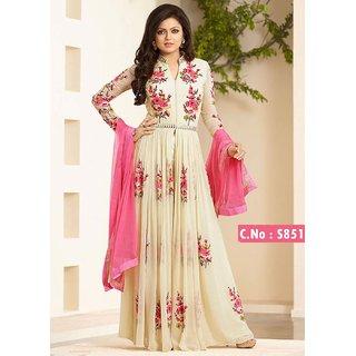 Utsav Designer New Amazing Off_White Georgette Anarkali Salwar Suits