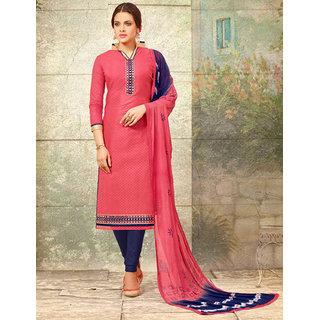 Utsav Designer New Fancy Peach Chanderi Cotton Straight Fit Dress Material (Unstitched)