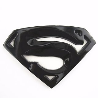 DY 3D CHROME SUPERMAN CAR EMBLEM BADGE decal sticker (Black)