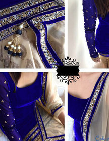 Utsav Designer New Attractive Blue Velvet Straight Fit Salwar Suits (Unstitched)