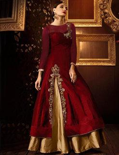 Utsav Designer New  Delightful Maroon Taffeta+Net Indo-Western Salwar Suits