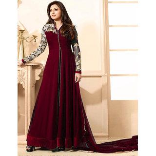 Utsav Designer New  Delightful Maroon Georgette Anarkali Style Salwar Suits