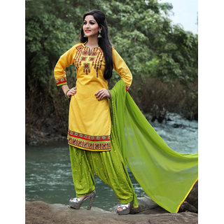 Utsav Designer New Attractive Yellow Pure Cotton Straight Fit Dress Material (Unstitched)