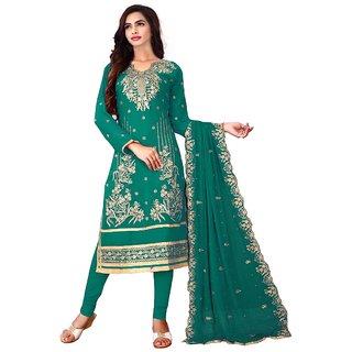 Utsav Designer New Fancy RAMA Faux Georgette Straight Fit Salwar Suits (Unstitched)
