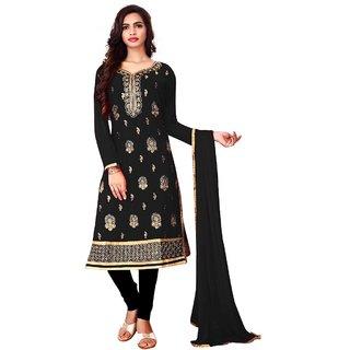 Utsav Designer New Excellent BLACK Faux Georgette Straight Fit Salwar Suits (Unstitched)