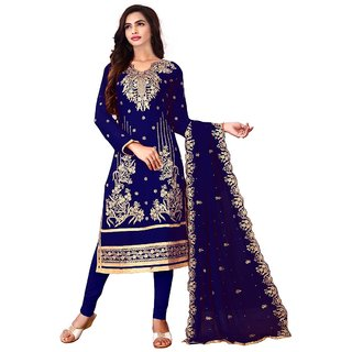 Utsav Designer New Lovely NEAVY BLUE Faux Georgette Straight Fit Salwar Suits (Unstitched)