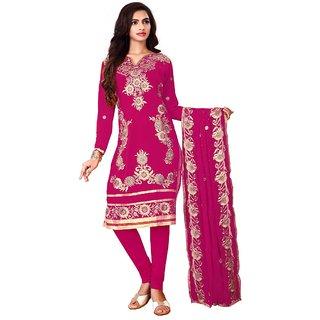 Utsav Designer New Beautiful RANI Faux Georgette Straight Fit Salwar Suits (Unstitched)