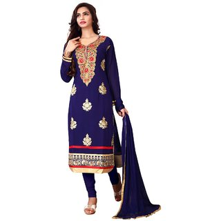 Utsav Designer New  Dazzling NEAVY BLUE Faux Georgette Straight Fit Salwar Suits (Unstitched)