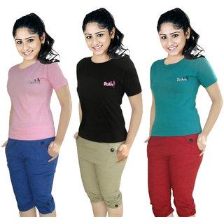 AdiRattan Combo of 3 T-Shirt  3 Capri for Girls/Women