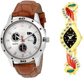 New Fogg With Wanton Peocock Analog Stylist Looking Combo Cupple Watch