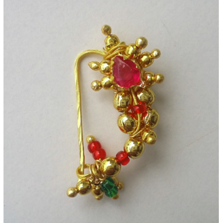 Gold plated beads nath for traditional wear (requires piercing)