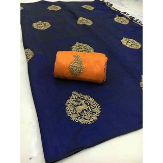 11e1e99b2 LATEST NEW DESIGNER SANA SILK SAREE (DEER EMBROIDERY) WITH EMBROIDERY WORK  PARTY WEAR