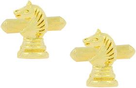 The Jewelbox Chess Horse Stallion 18K Gold Plated Cufflinks Pair For Men