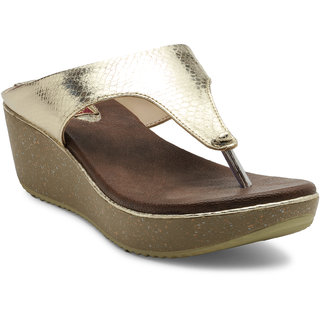 b81de5a6326f Flat n Heels Golden Wedges available at ShopClues for Rs.1084