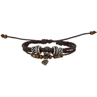 Bijou Vertex Brown Leather Multi Row Bracelet With Charms