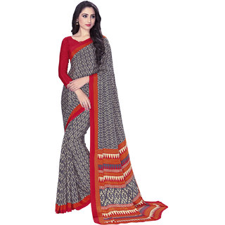 Swaron Women's Grey and Beige Colored Crepe Printed Casual Wear Saree