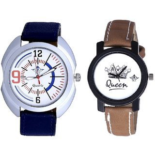 Blue Sport Leather Strap And Queen Taj Design Dial Couple Casual Analogue Wrist Watch By Gujrat Hub