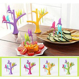 6pcs set Humming Bird Design Fancy Fruit Salad Fork with Fork Holder