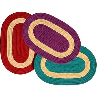 Deerosita Multicolor Color Polypropylene Striped Pattern Door Mat Set of 3