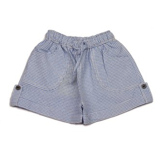 Pikaboo Blue Gingham Checks Infant Boys Cotton Shorts