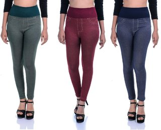 Women Skinny Fit High Waist Strachable Lycra Tummy Tuck Jeggings Combo Pack Of 3