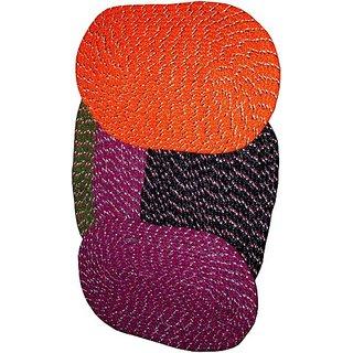 Deerosita Multicolor Color Cotton Abstract Pattern Door Mat Set of 4
