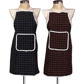 Deerosita Multicolor Printed Cotton Aprons with pocket  Free Size set of  1