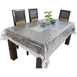 Deerosita Self Design Transparent Color PVC 6 Seater Table Covers