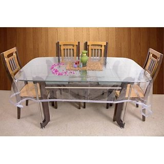 Deerosita Crocheted Silver Color PVC 6 Seater Table Covers